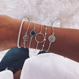 Stacked silver lotus charm minimalist bracelets